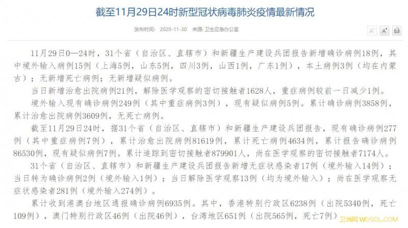 国家卫健委:11月29日新增确诊病例18例其_病例-出院-累计-蒙古